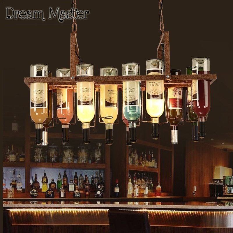 American style retro industrial color wine bottle Pendant lamp artistic originality personality bar restaurant coffee house lamp smad 28 bottle wine chiller cellar bar