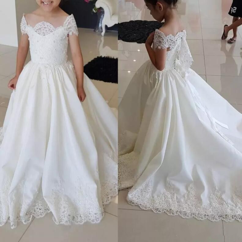 2018 New Girls Pageant Gown Lace Off The Shoulder Flower
