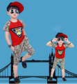 New Children's Clothes Set Boys Handsome Fashion Leopard Print Short-Sleeved T-Shirt And Casual Pants fit 3-10 Years old 2017