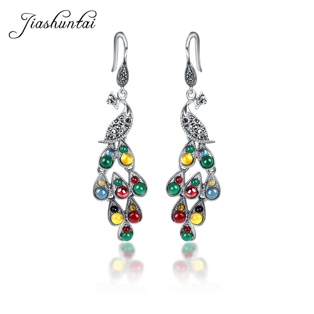 Image 2 - JIASHUNTAI Silver 925 Earrings Vintage Peacock Earrings Colorful  Retro 100% Sterling Silver Jewelry For Women Natural Stoneearrings 925  silver sterlingjewelry silver earringssilver 925 stone