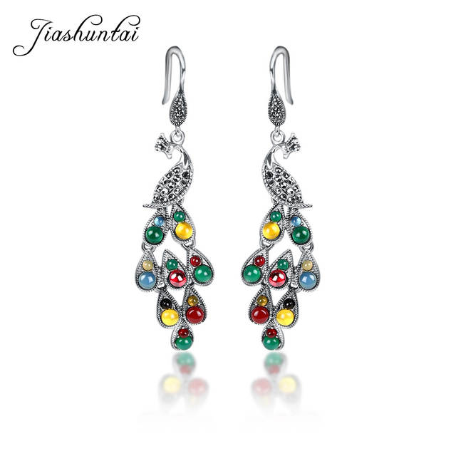 ad9f788fe placeholder JIASHUNTAI Silver 925 Earrings Vintage Peacock Earrings  Colorful Retro 100% Sterling Silver Jewelry For Women