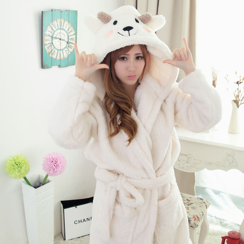 Animal Winter Robe with Hood Women Men Flannel Warm Hooded Bathrobe Nightgown Long Fleece Robes