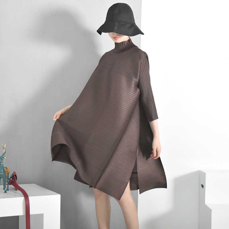 LANMREM2019 Весна Новая мода длинный рукав водолазка сплошной цвет свободное складное по колено ТРАПЕЦИЕВИДНОЕ винтажное платье для женщин EB015