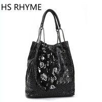 HS RHYME Vintage Skull Bucket Chain Bag Women Messenger Set Shoulder Bolso With Silk Casual Handbags