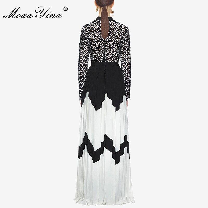 MoaaYina vestido de pasarela de diseñador de moda de verano para mujeres de manga larga cuello de pie hueco Patchwork dividido Casual fruncido Maxi vestido - 3