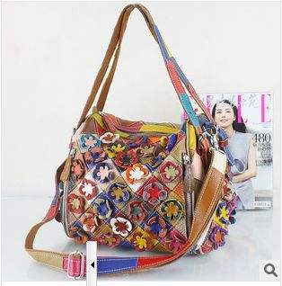 Здесь продается  2018 fashion  handmade flower multicolour bags genuine leather cowhide women