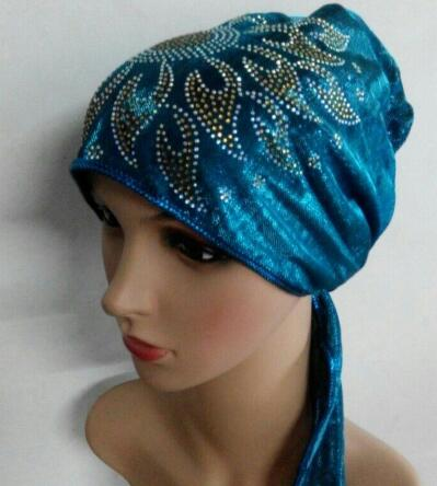 chemo bonnet cap Headwrap hat shimmer back tie under hijab hijab mixed 8 Colour 12pcs/lot free ship