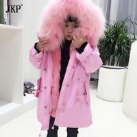 Winter Children Real Fur Parkas Camoufalge Kids Real fox fur Outwear Coats Boys Girls fox Rabbit Fur Parkas