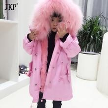 Зимние детские парки из натурального меха, Детская верхняя одежда из натурального меха лисы, пальто для мальчиков и девочек, парки из меха лисы и кролика