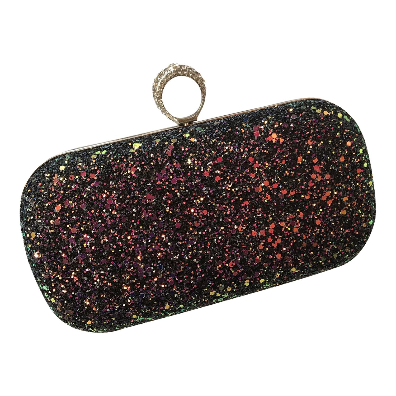 Neue Frauen Elegante Glitter Lock Verschluss Geldbörse Kette Handtasche Abend Hochzeit Prom Bankett Partei Handtasche Schulter Tasche (schwarz)