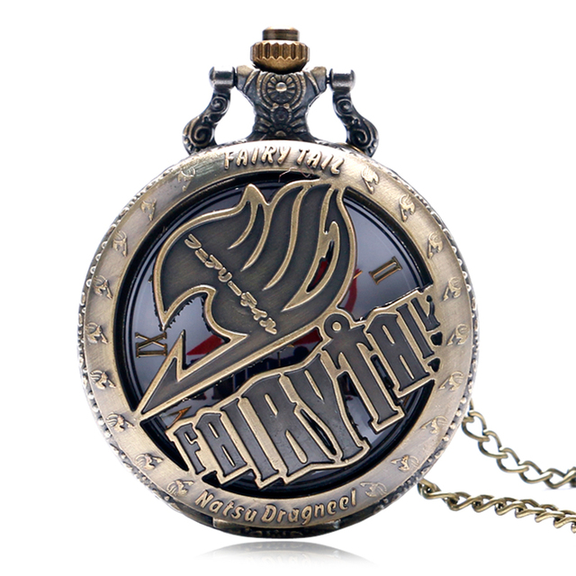 Hollow Fairy Tail Pocket Watch Japan Cartoon Pendant Natsu Dragneel Necklace Fas