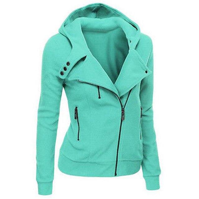 Женщины Дамы Куртка С Капюшоном С Длинным Рукавом Толстовки Кофты Zip куртки для женщин Верхняя Одежда