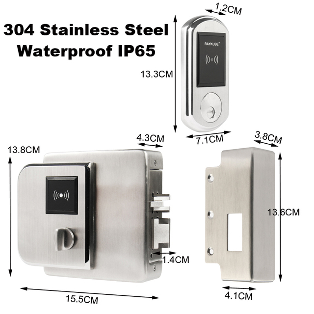 RAYKUBE Waterproof Fingerrint Electronic Door Lock With IC Card Reader Fingerprint Verification For Outsite Gate IP65