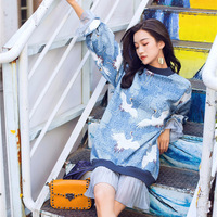 Fashion Spring Women Pullover Ladies Bird Crane Printed Blue Harajuku Chiffon Patchwork Long Sweatshirt Dress Casual