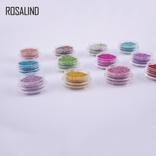 ROSALIND 1mm Nail Art Mini Caviar Beads Studs Gel Polish Tips 3D DIY Charm Metallic Pearl Ball Bead Decor Accessories 12 Colors(China)