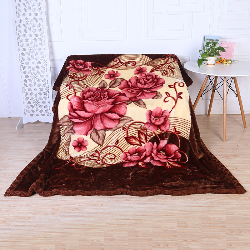 Retro and Nostalgic style polyester fabric Comfortable Warm blanket  Queen size