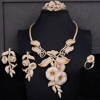 Высокое качество кольцо цепочки и ожерелья Серьги Браслет Ювелирные наборы мини кубического циркония свадебные обручение костюм