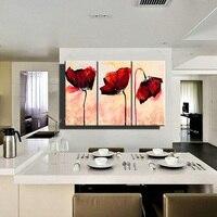 3 unidades abstracta moderna hecha a mano del arte de la flor pintura de la amapola roja del arte de la lona pintura al óleo decorativa del cuadro de la lona para el dormitorio