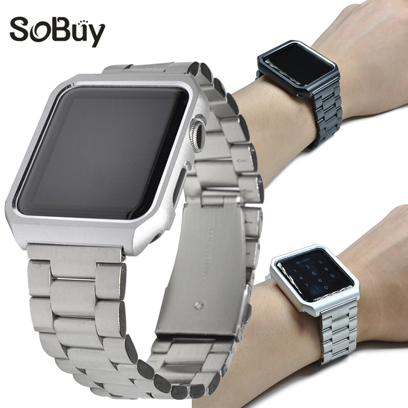 So buy for apple watch 1/2/3 series sport S1 stainless steel Link bracelet iwatch S2 metal strap 38mm/42mm protective shell case