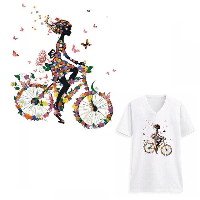 Симпатичные для девочек в цветочек DIY теплопередачи наклейки джинсы пирография патчи для Костюмы Пресс аппликация украшения глажения на патч