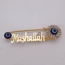 Islam Mashallah turkish evil eye islam muçulmano broche de aço Inoxidável pin bebê aceitar o transporte da gota
