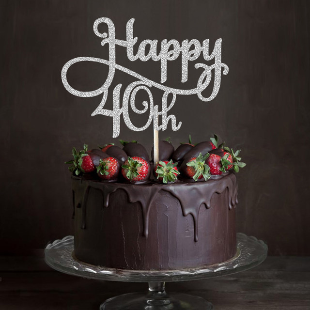 Online Shop Goldsilverblack Glitter Happy 40th Cake Topper Forty
