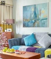 抽象的な現代キャンバス壁手作り現代有名なアーティスト青い海景油絵用リビングルーム装飾