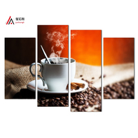 4 panel Hot Sale Home Decor Artwork painting print on canvas coffee Decoration Modular Picture poster canvas print Free Shipping