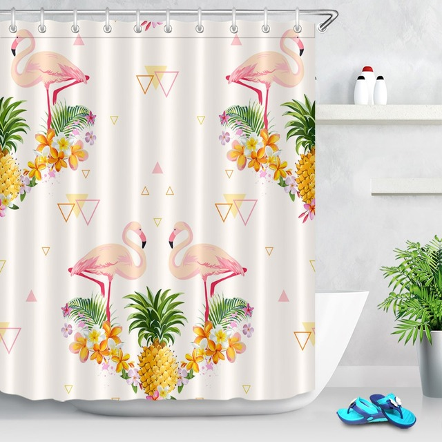 Tropical Pineapple Hawaii Summer Plants Pink Flamingo Print Shower Curtain Bathroom Polyester Bath Curtains Decor Free
