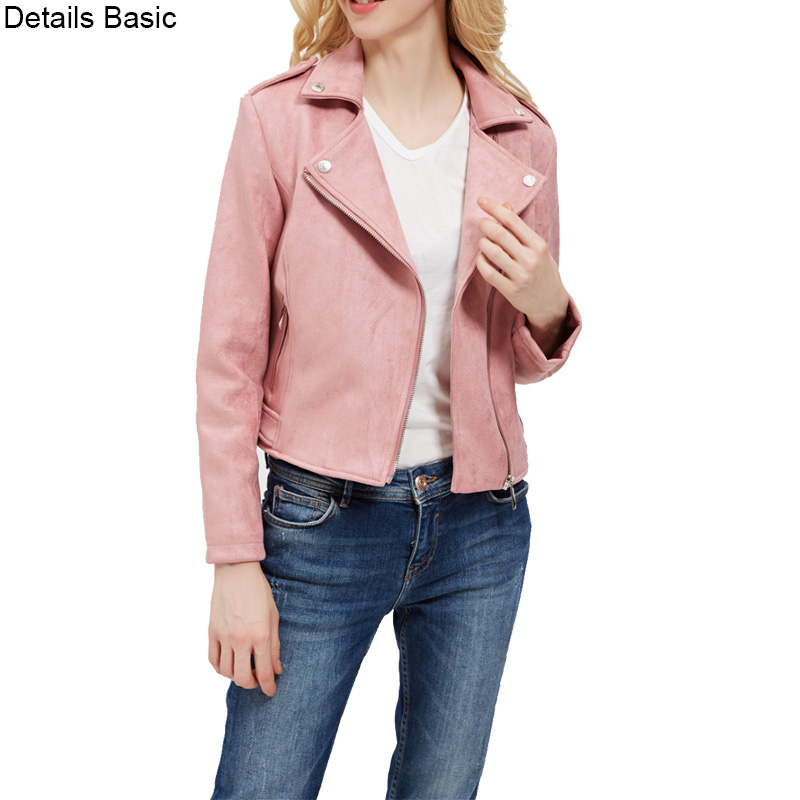 2018 New Elegant Autumn Winter Zipper Basic Suede Jacket Coat Motorcycle Jacket Women Outwear Pink Slim Short Winter Jacket S-XL