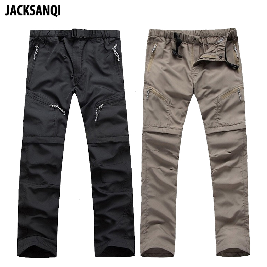 JACKSANQI Summer Men Removable Hiking Pants Shorts Green Outdoor Quick Dry Breathable Trousers Climbing Trekking Fishing RB068