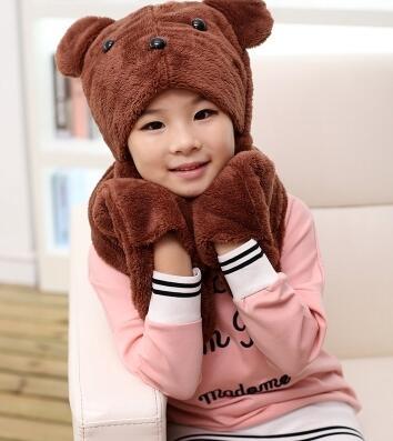 Autumn And Winter Parent-child Thermal Scarf Hat Gloves Three Pieces Set Children's Warm Hat Kids Cartoon Hat Glove Set