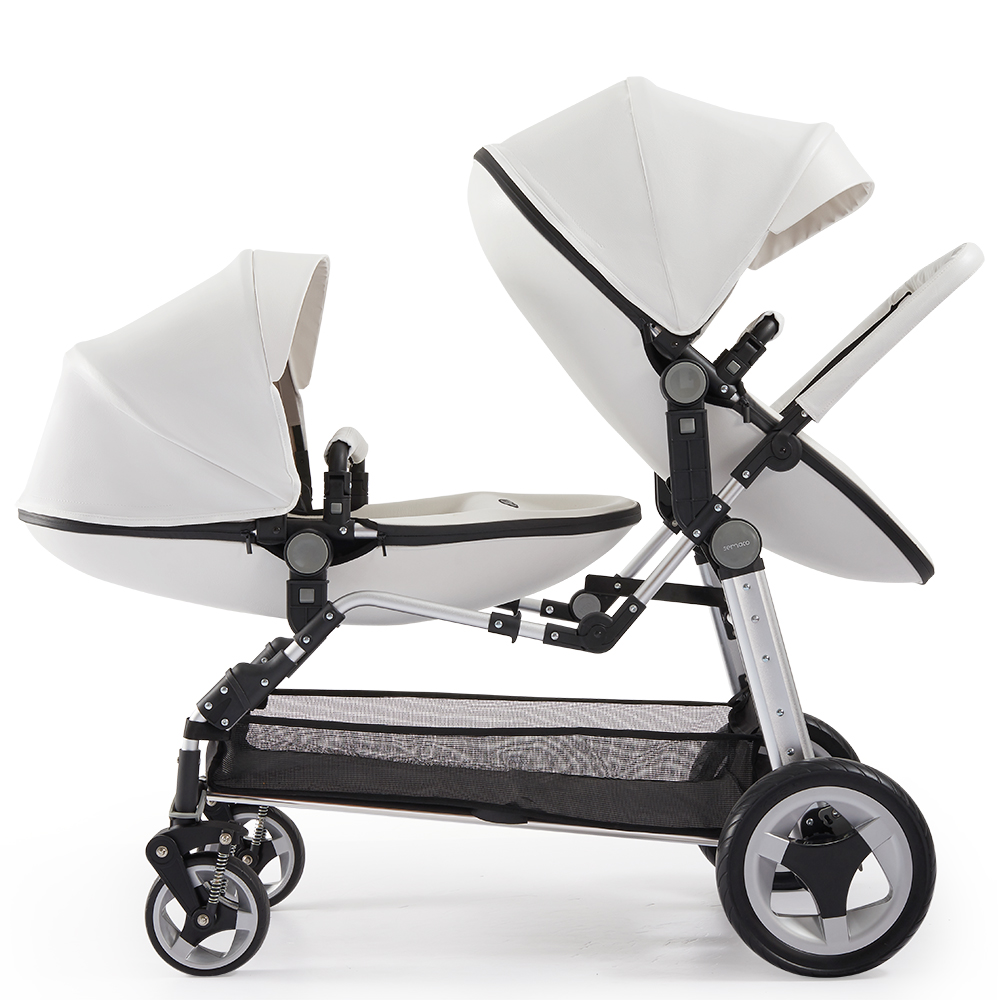 Free ship Twin baby stroller luxury high landscape eggshell double pram folding light kid carriage semaco free ship 10