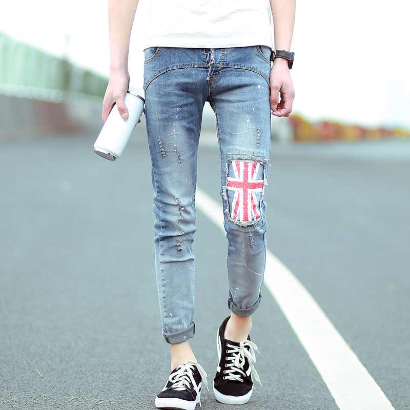 The New 2016 M Word Han Edition Trousers Fashion Splash ink Foot Men Jeans Trousers