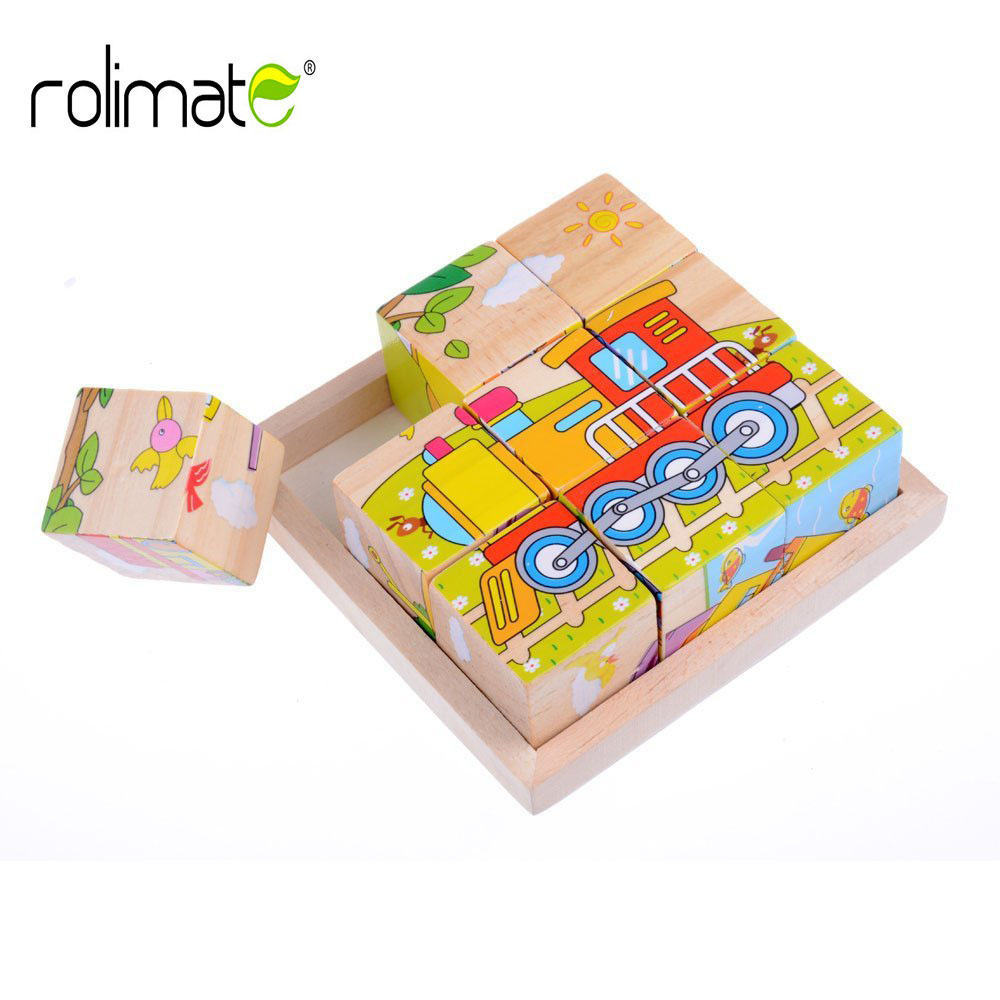 Rolimate дошкольных образовательных учреждениях деревянные куб путешествия головоломки-Вагон корабль самолет экскаватор скорой помощи