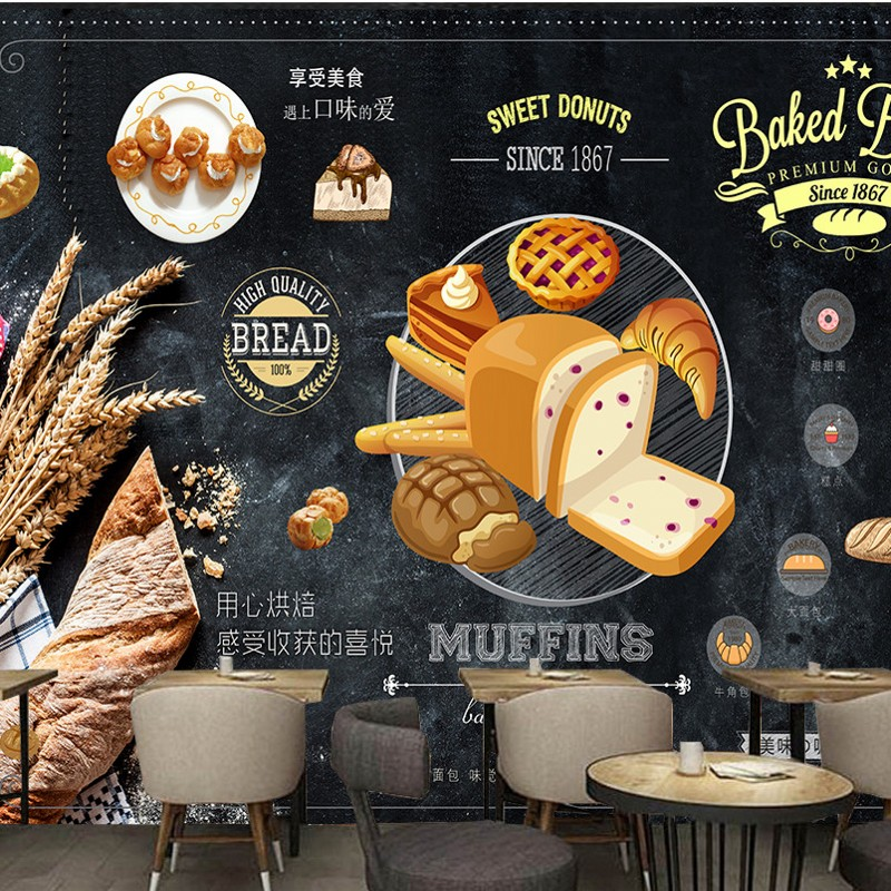 Free shipping custom wallpapers Vintage Food Baking shop bakery Background wall design wallpaper wall murals