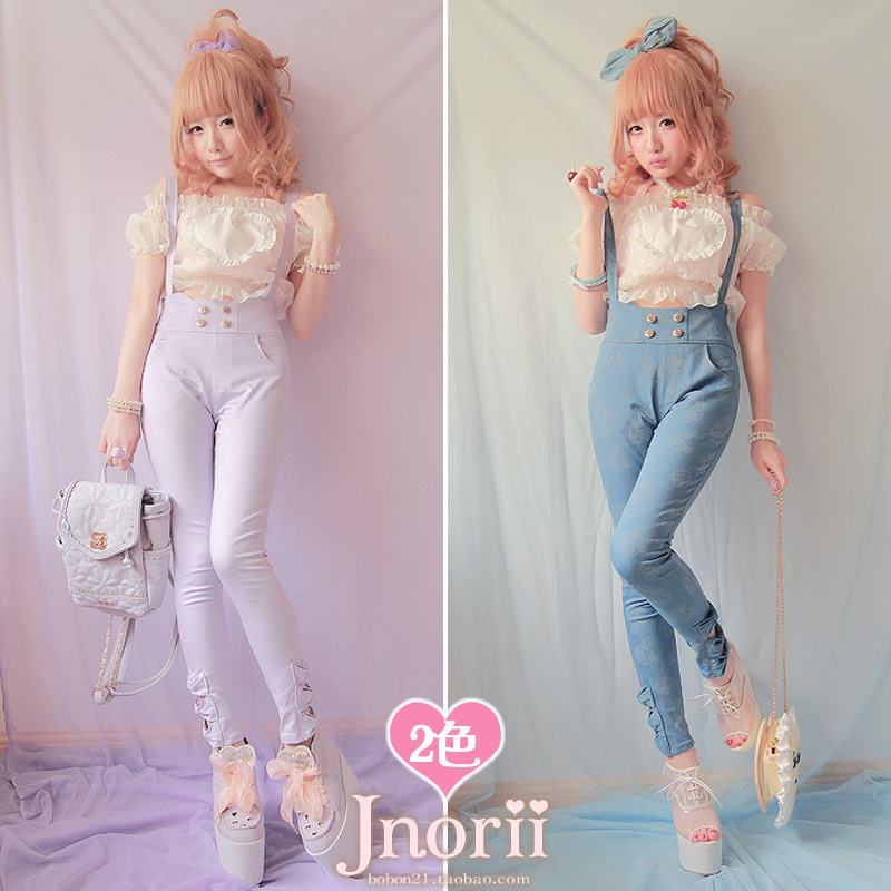Princess sweet lolita overall vintage young girl trousers Bobon21 bow print denim suspenders pencil trousers b1002