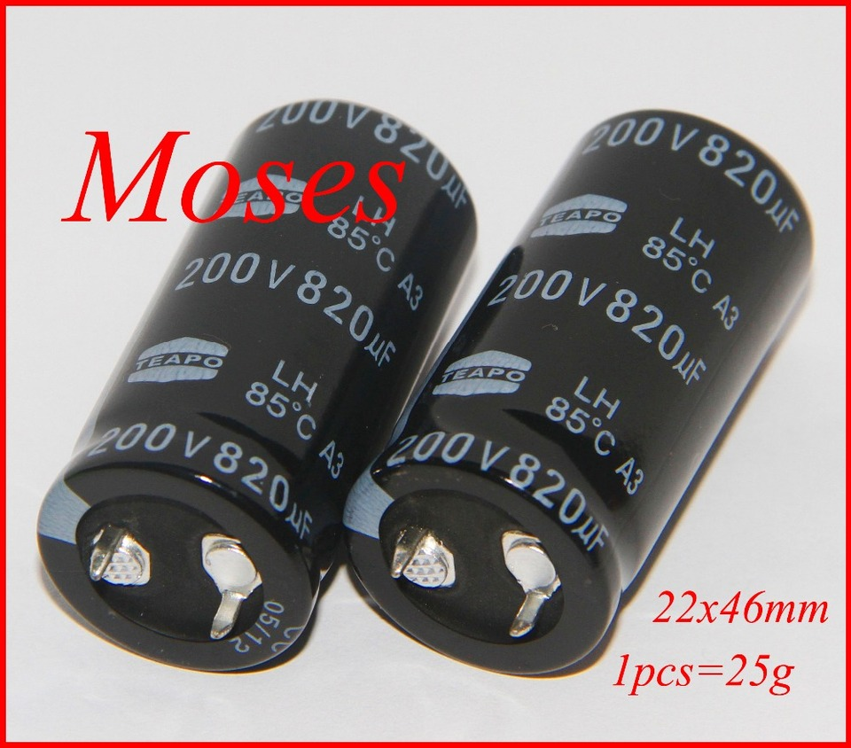 Lot of 3 pieces 820uF 200V DC Radial Snap In Electrolytic Capacitor NEW
