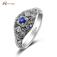 Bohemia 925 Sterling Silver Ring Created Sapphire Stone Retro Punk Flower Pattern Ring Fashion Women Christmas Party Jewelry