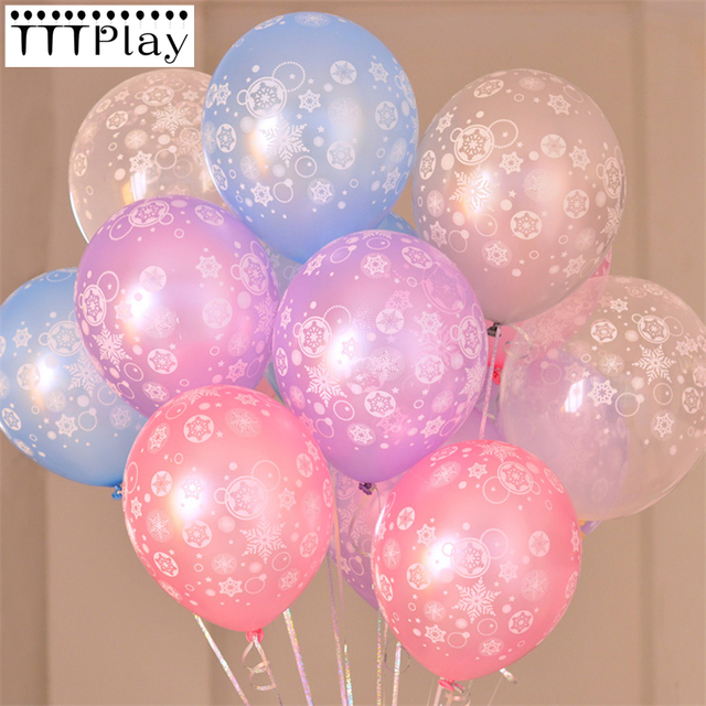 High Quality 10pcs Lot The Queen Elsa Snow Printed Balloons Snowflake Ball Christmas Birthday Party