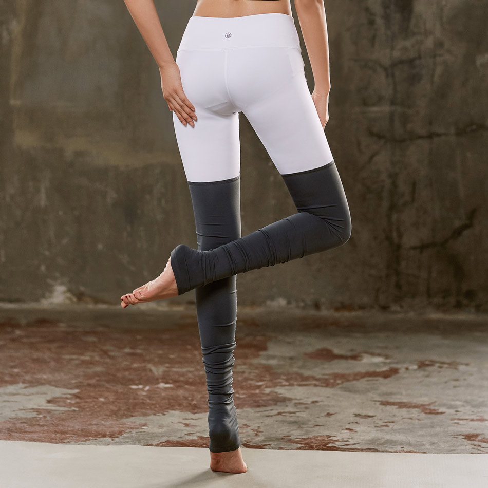 contrast color patchwork goddess women yoga pants fitness thick gym