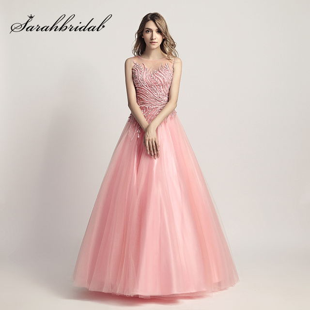 Unique Pink Ball Gown Evening Dresses with Beading Tulle Sleeveless Famous Women  Prom Party Gowns Sweet 16 Dress LX425 6e6897df1880