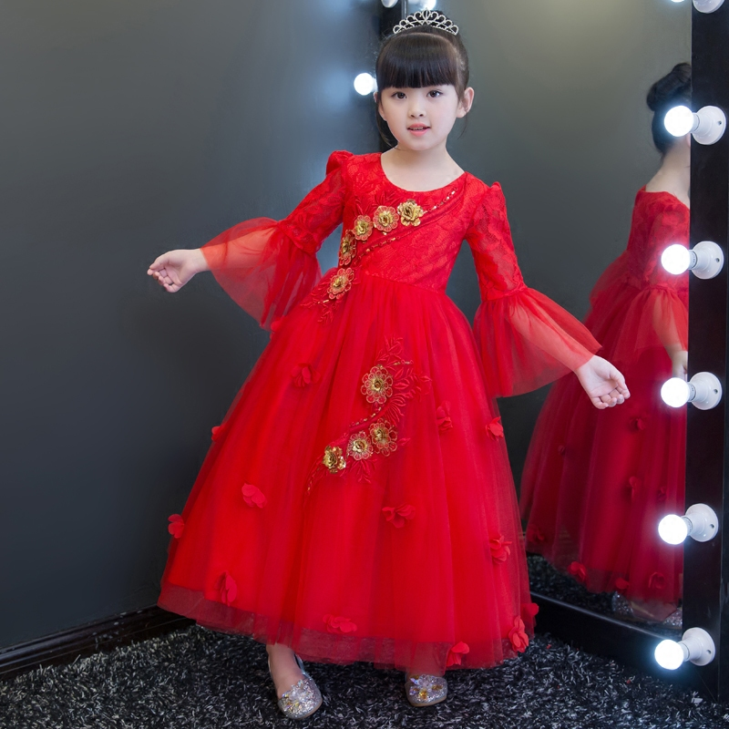 New Arrival Red Color Children Girls Embroidery Flowers Princess Lace Mesh Dress Kids Birthday Wedding Dress Model Show Clothes girls birthday wedding evening party embroidery flowers lace princess dress children kids model show costume pageant long dress