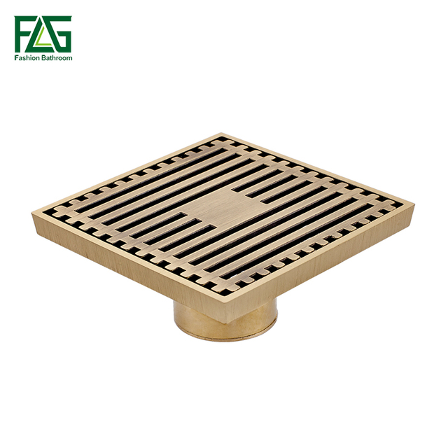 Perfect 10cm*10cm Euro Style Antique Brass Deodorant Square Floor Drain Strainer  Cover Sink Grate Bathroom
