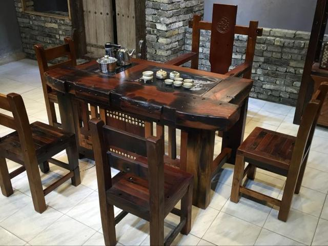 Old Antique Chinese Furniture Wood Coffee Table Tea Arts Tables And Chairs  Combination Teasideend