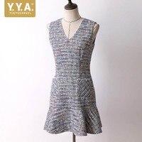 New Autumn Winter Womens Short Dress Elegant Slim Fit Solid Tweed Dress Female Streetwear Sleeveless Ruffle Mermaid Dress