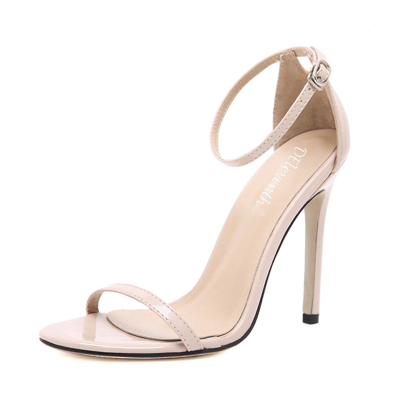 цены  Sexy Nude Leather High Heels Sandals Women Ankle Strap Buckle Summer Dress Party Shoes Pumps Woman Open Toe Wedding Sandals