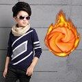 Muchachos de los niños Suéteres Nuevo 2016 Otoño de La Manera de Terciopelo Grueso Outwear Jerseys Casual O-cuello Del Algodón de la Marca Kids Kitting Suéteres