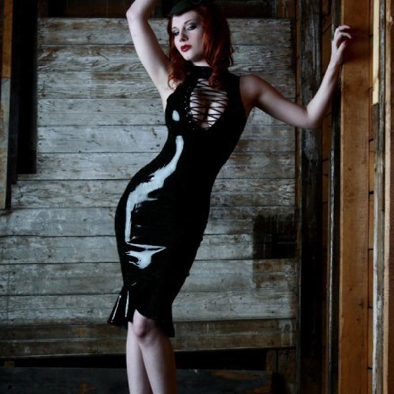Hot Black Faux Leather Latex Catsuit Dress Sleeveless Burst Milk Teddy Jumpsuit Tight Package Hip Cat Women Bodysuit Sex Product