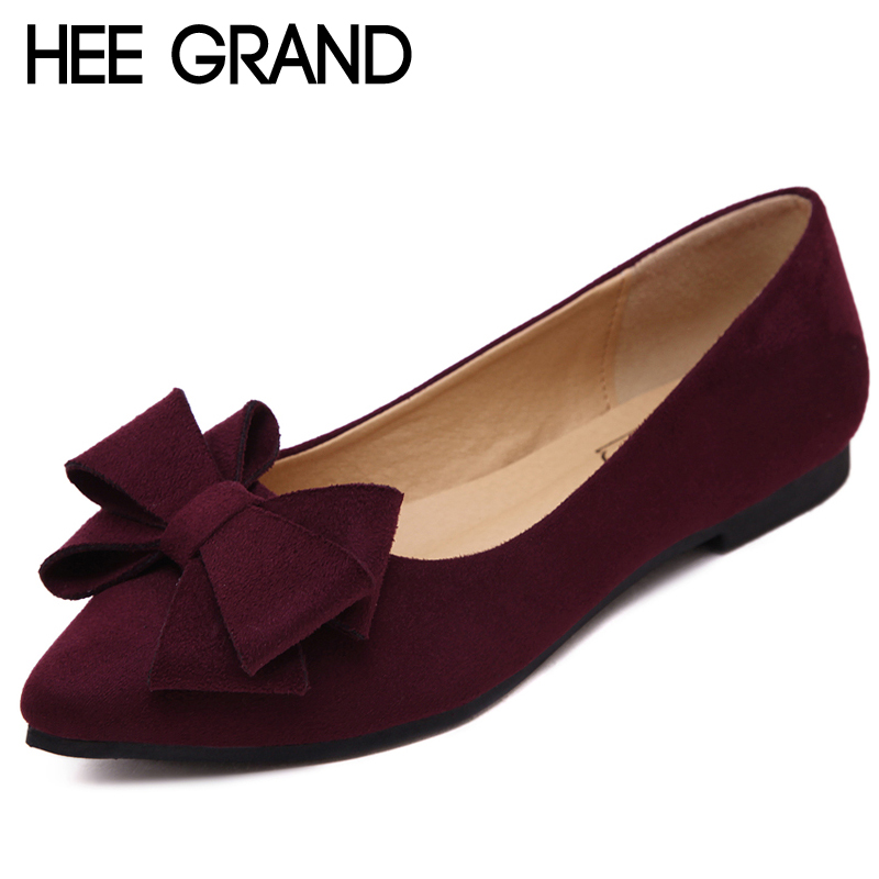 HEE GRAND 2018 Loafers Casual Platform Shoes Woman Bowtie Ballet Flats Slip On Comfort Fashion Women Shoes Size 35-41 XWD6428 hee grand casual wedges sandals 2017 summer beach women shoes platform buckle comfort creepers fashion shoes woman xwz3812